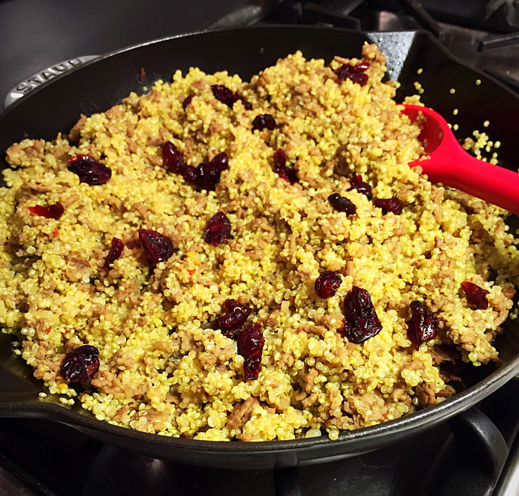 quinoa - lean ground beef - dried cranberries