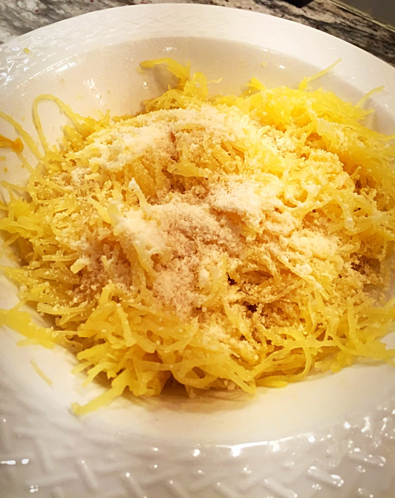 spaghetti squash, garlic olive oil and parmesan
