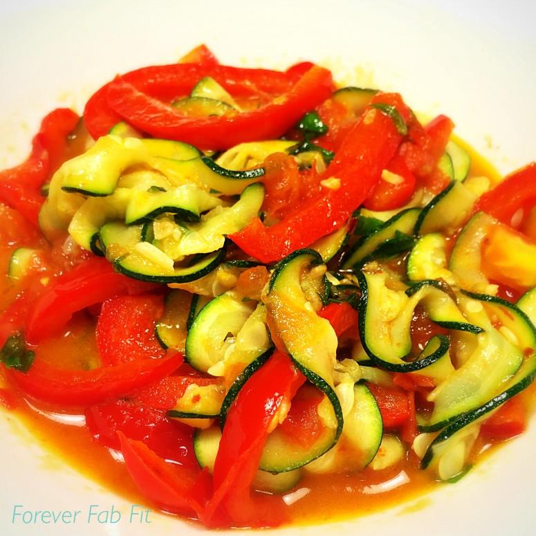 zucchini fettuccine with tomato pepper sauce