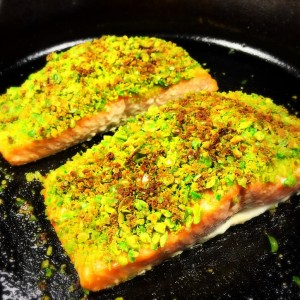 salmon fillet with wasabi pea crust