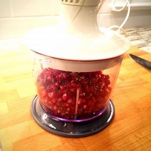 pomegranate seeds in a blender