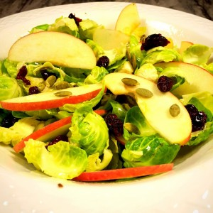 Brussels Sprouts & apple salad with cranberries and pumpkin seeds