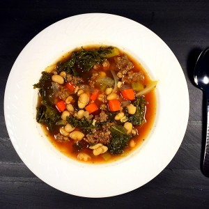 Tuscan white bean, kale and turkey sausage soup