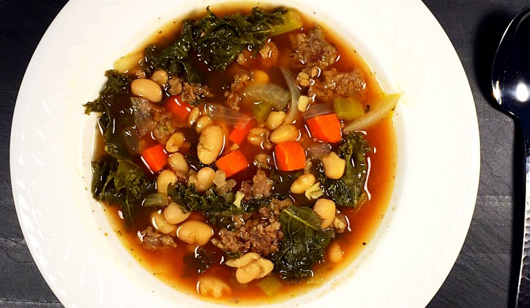 Tuscan Bean, Kale and Lean Turkey Sausage Soup