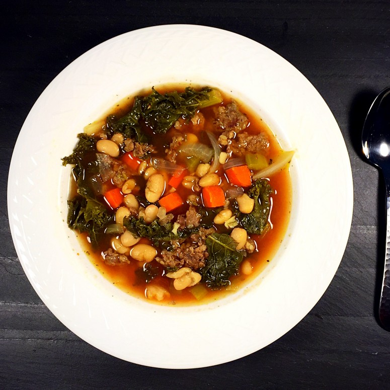 Tuscan white bean, kale and turkey sausage soup